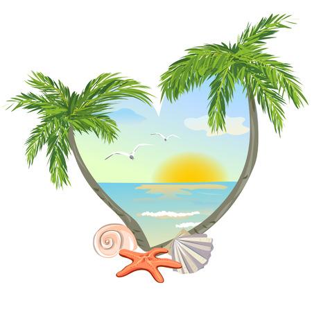icoon in de vorm van een hart met het strand en de schelpen. vector illustratie