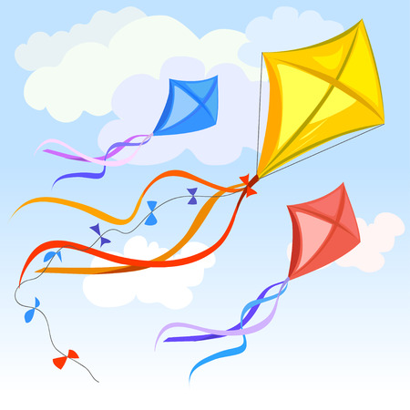 yellow tail: kite and clouds background. vector illustration