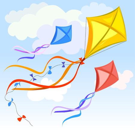 papalote: kite y las nubes de fondo. ilustración vectorial