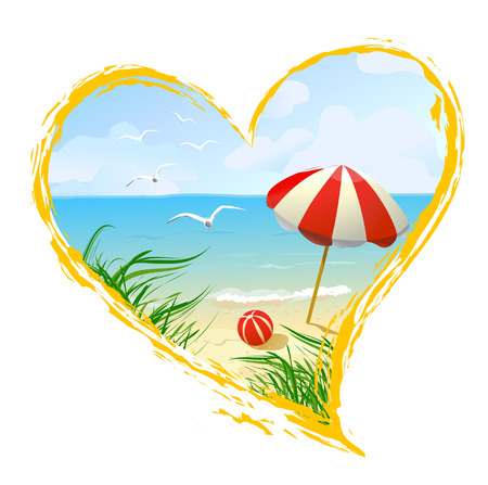 icon in the shape of a heart with beach. vector illustration Çizim