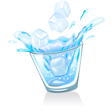 ice cubes: glass with water and ice cubes. vector illustration