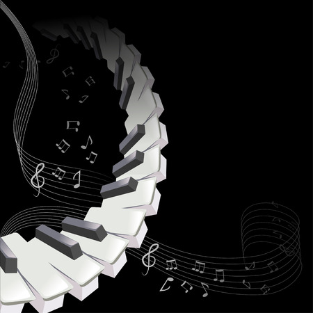 background music, piano sheet music. vector illustration Çizim