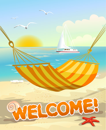 beach view from the hammock. vector illustration Vector