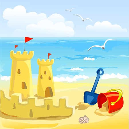 beach with childrens toys and sandcastles. vector illustration Vector
