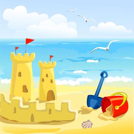 strand met speelgoed en zandkastelen van kinderen. vectorillustratie