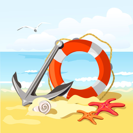 beach, anchor, lifebuoy and starfish. vector illustration