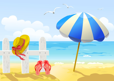 beach, sea and sun umbrella. vector illustration