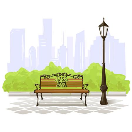 banc de parc: banc et lampadaire sur fond de ville. illustration vectorielle Illustration