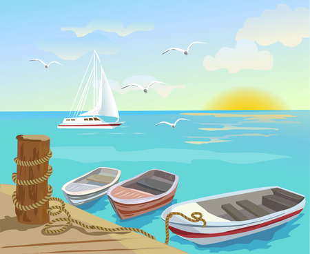 Boats on the sea berth. vector illustration Çizim