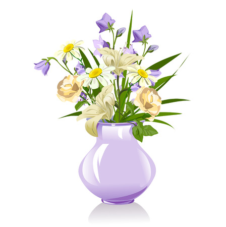roses in vase: bouquet of lilies, bluebells, daisies and roses. vector illustration