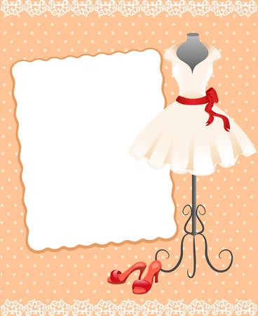 vintage lady: kaart met een mannequin, kleding en schoenen. vectorillustratie