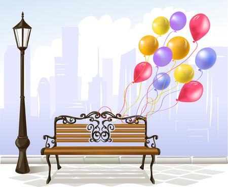 streetlamp: celebration in the city. vector illustration