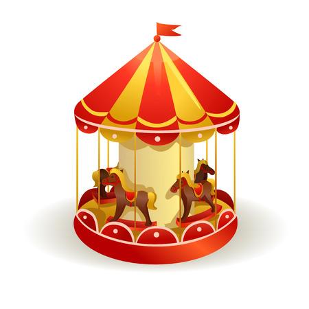 carrusel de los niños con los caballos. ilustración vectorial Ilustración de vector