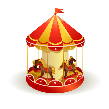 fun fair: childrens carousel with horses. vector illustration