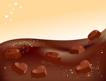 fondo chocolate: fondo de chocolate y dulces. ilustraci�n vectorial
