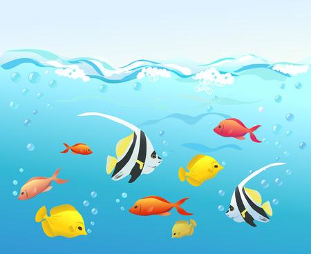 coral fish under water. vector illustration Vector