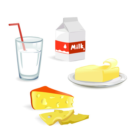 dairy produce isolated. vector illustration