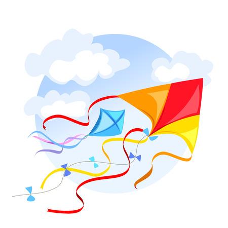 凧と雲とエンブレム。ベクトル イラスト