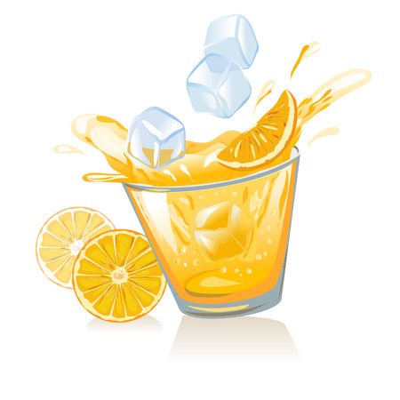 glass of orange juice and ice cubes. vector illustration Vector