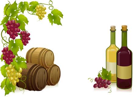 druiven, vaten en flessen wijn. vectorillustratie