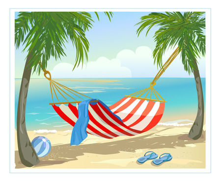 beach holiday: hammock, palm trees on the beach. vector illustration