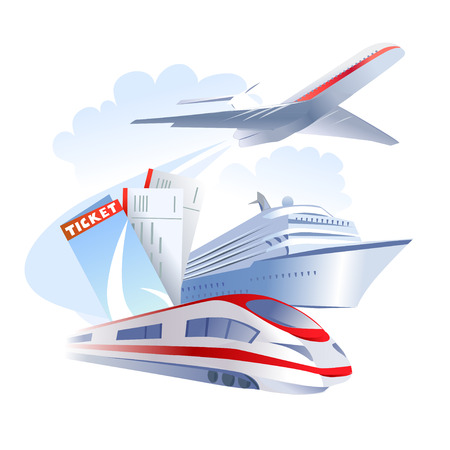 airplane ticket: icon with different travel transport. vector illustration