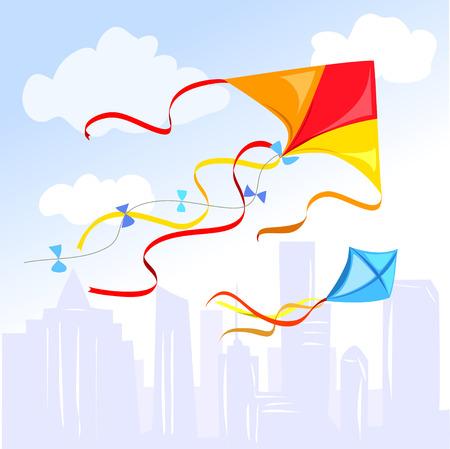 kite boven de stad. vector illustratie