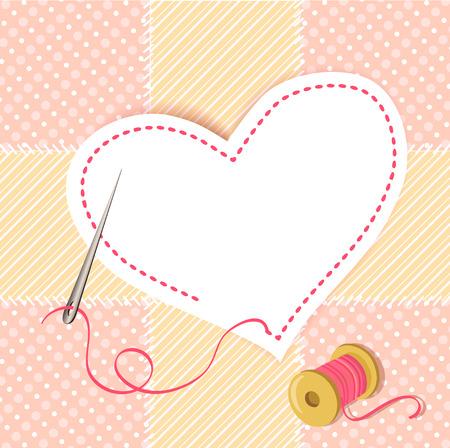 patchwork hart met een naald draad. vector illustratie
