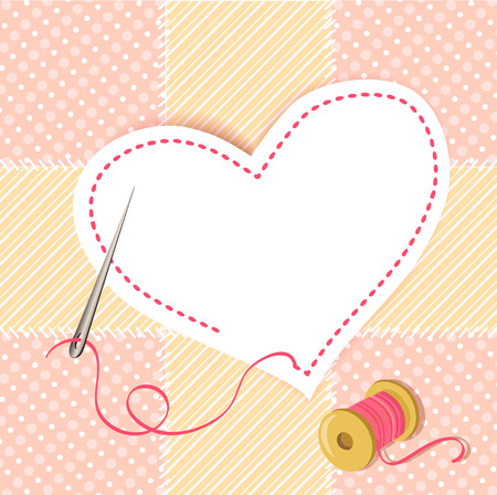 patchwork heart with a needle thread. vector illustration Çizim