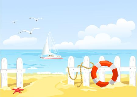pad naar het strand door het hek. vector illustratie