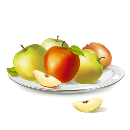 apple slice: plate with ripe apples.vector illustration Illustration