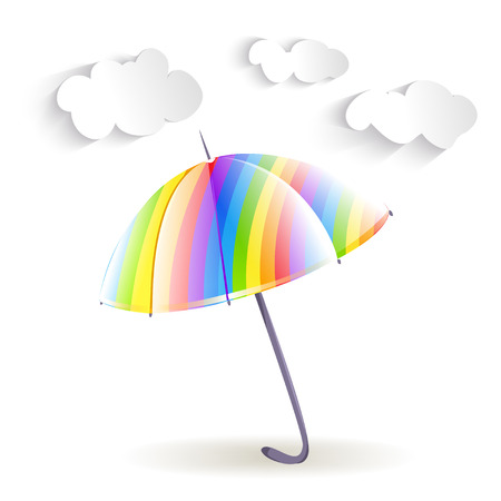 rainbow umbrella: rainbow umbrella and clouds. vector illustration