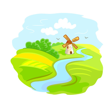 rural landscape with mill. vector illustration Vector