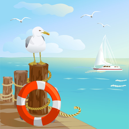 sea, gull, pier, and lifebuoy. vector illustration Ilustração