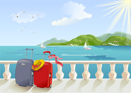 seaside promenade and suitcases. vector illustration