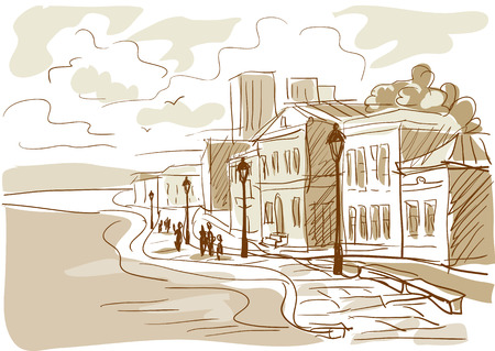 sketch of a city street, boulevard. vector illustration Vector