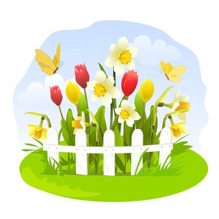 garden fence: Spring flowers in a small garden. vector illustration
