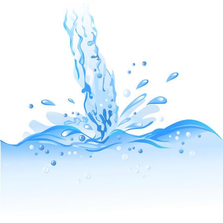 fresh water splash: Strom Wasser isoliert. Vektor-Illustration