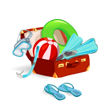 suitcase with beach accessories. vector illustration Stock Vector - 26233912