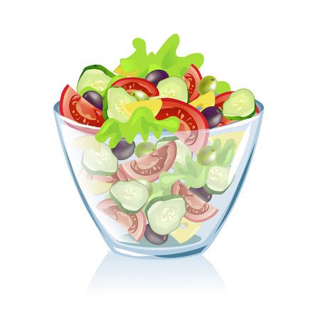 ensalada verde: plato transparente con verduras. ilustraci�n vectorial