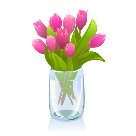 transparent vase with tulips. vector illustration Vector