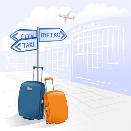 twee koffers en de luchthaven. vectorillustratie