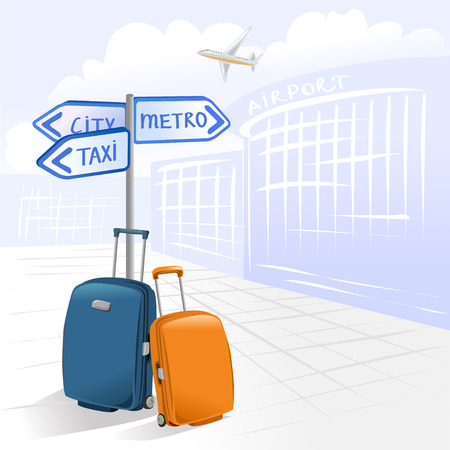 two suitcases and airport. vector illustration