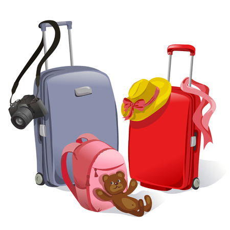 two suitcases and childrens backpack. vector illustration