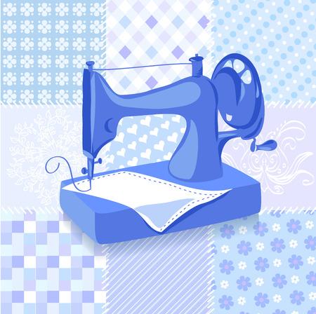Sfondo macchina da cucire d'epoca patchwork. illustrazione vettoriale