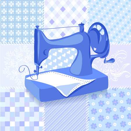 stitching machine: Vintage sewing machine patchwork background. vector illustration Illustration