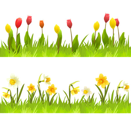 banners of spring flowers.  Illustration