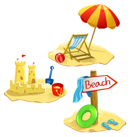 set beach and recreation symbols isolated.  Illustration