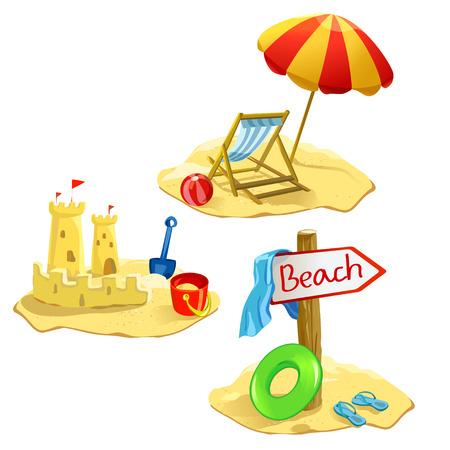 set strand en recreatie symbolen geïsoleerd. Stock Illustratie