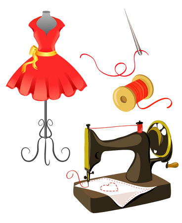 tailoring: mannequin, dress, sewing machine isolated.